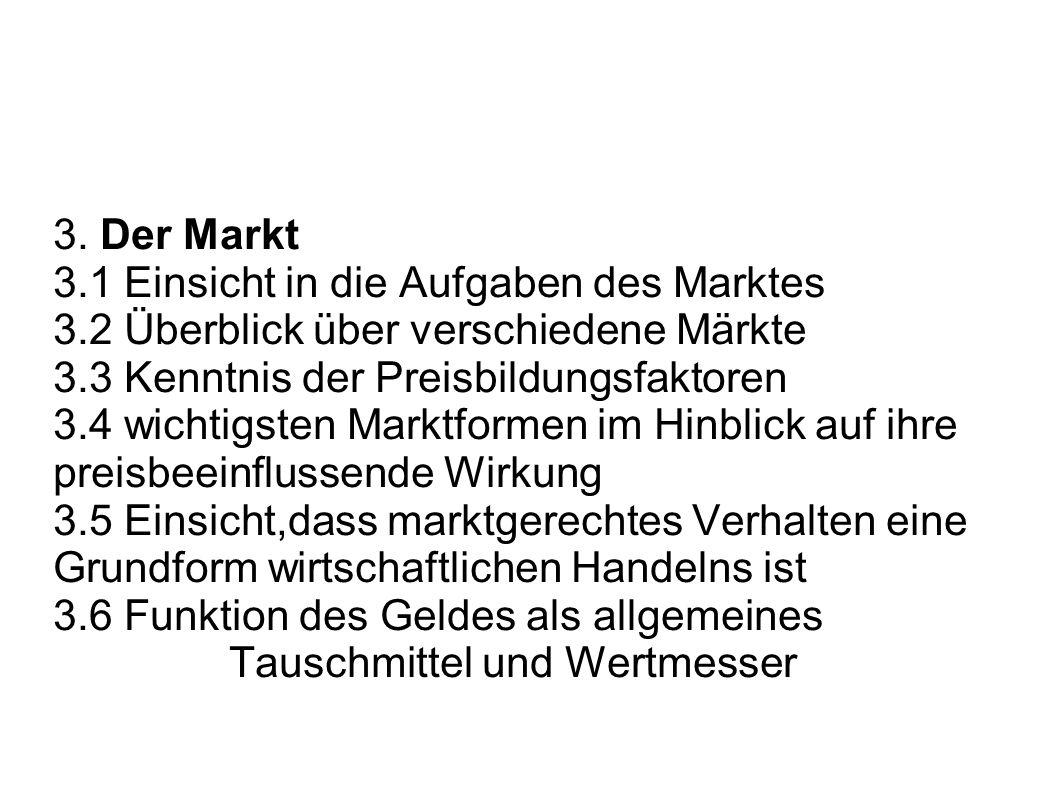 3. Der Markt 3.1 Einsicht in die Aufgaben des Marktes 3.2 Überblick über verschiedene Märkte 3.3 Kenntnis der Preisbildungsfaktoren 3.4 wichtigsten Ma