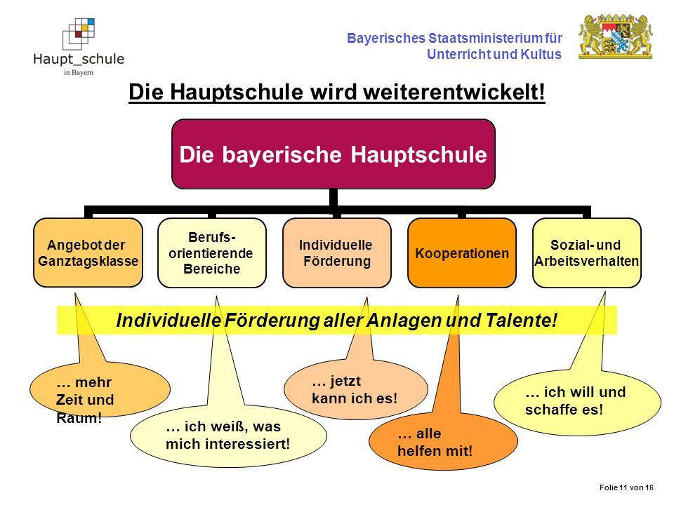 Die Hauptschule wird weiterentwickelt! Bayerisches Staatsministerium für Unterricht und Kultus Die bayerische Hauptschule Angebot der Ganztagsklasse B