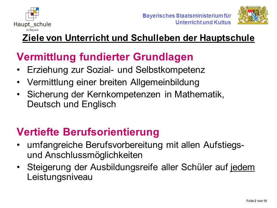 Unterricht und Schulleben der Hauptschule Die Hauptschule vermittelt vorrangig Grundwissen und Lernkompetenzen.