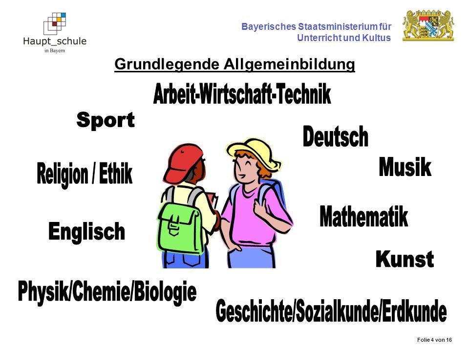 Grundlegende Allgemeinbildung Bayerisches Staatsministerium für Unterricht und Kultus Folie 4 von 16