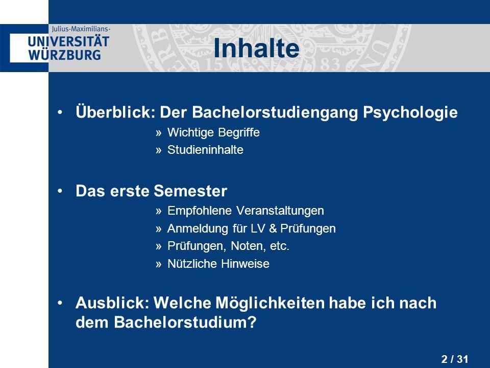 13 / 31 Bachelorstudiengang: Inhalte Sonstige Module: »Physiologie & Neuroanatomie »Berufsorientierendes Praktikum (12 Wochen) »Allgemeine Schlüsselqualifikationen (z.B.