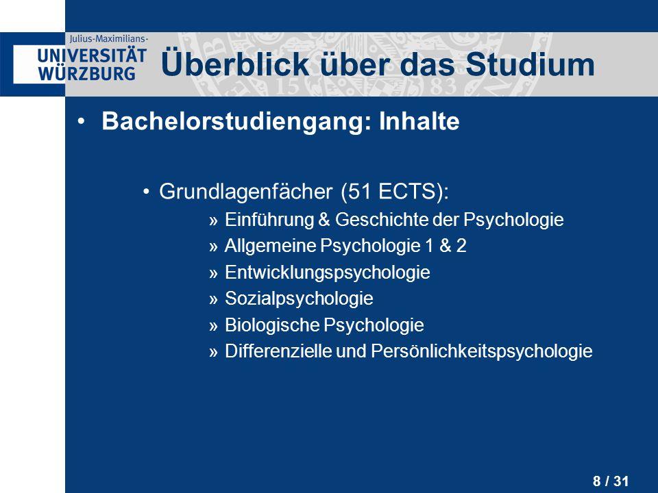 9 / 31 Bachelorstudiengang: Inhalte Methoden & Diagnostik (37 ECTS): »Statistik 1 & 2 »Methodenlehre »Einführung in empirische & experimentelle Forschungsmethoden »Diagnostik, Testtheorie & Testentwicklung Überblick über das Studium