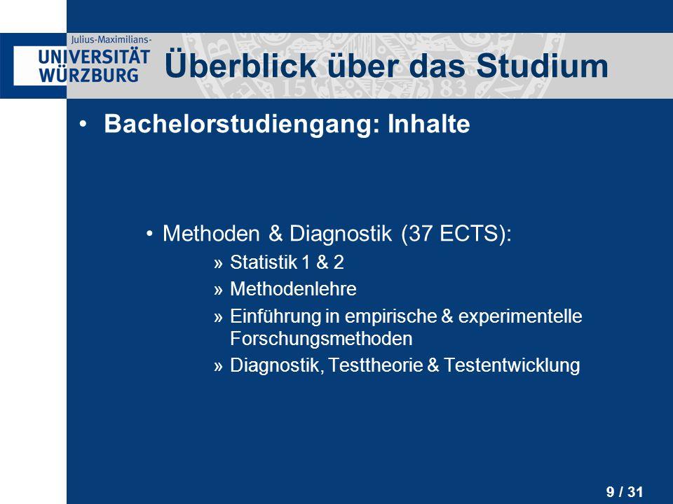 30 / 31 Weitere Infos Homepage der Fachstudienberatung http://www.psychologie.uni-wuerzburg.de/fachstud Persönliche Beratung Dr.