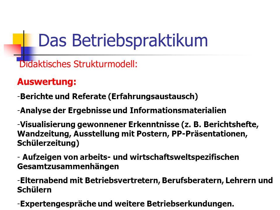 Das Betriebspraktikum Didaktisches Strukturmodell: Auswertung: -Berichte und Referate (Erfahrungsaustausch) -Analyse der Ergebnisse und Informationsma