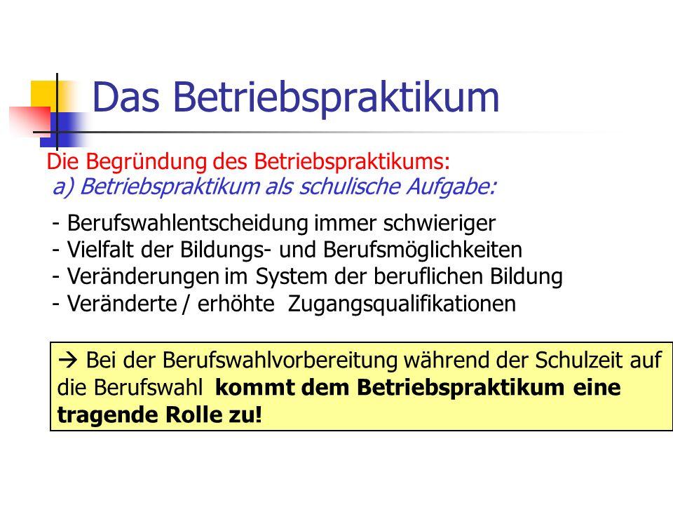 Das Betriebspraktikum Die Begründung des Betriebspraktikums: a) Betriebspraktikum als schulische Aufgabe: - Berufswahlentscheidung immer schwieriger -