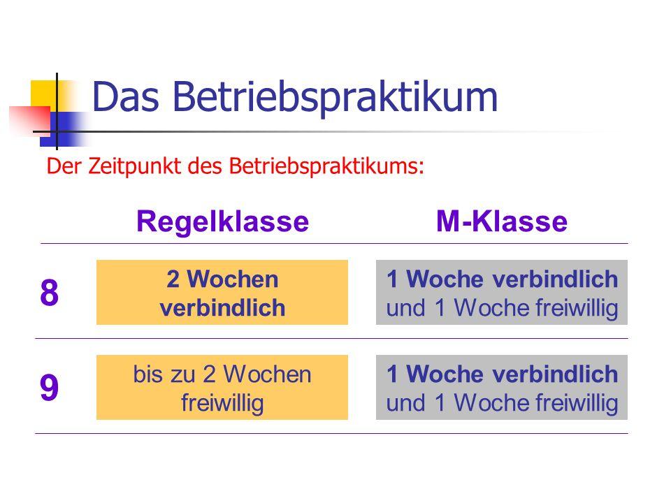 Das Betriebspraktikum Der Zeitpunkt des Betriebspraktikums: 9 Regelklasse 2 Wochen verbindlich 1 Woche verbindlich und 1 Woche freiwillig bis zu 2 Woc