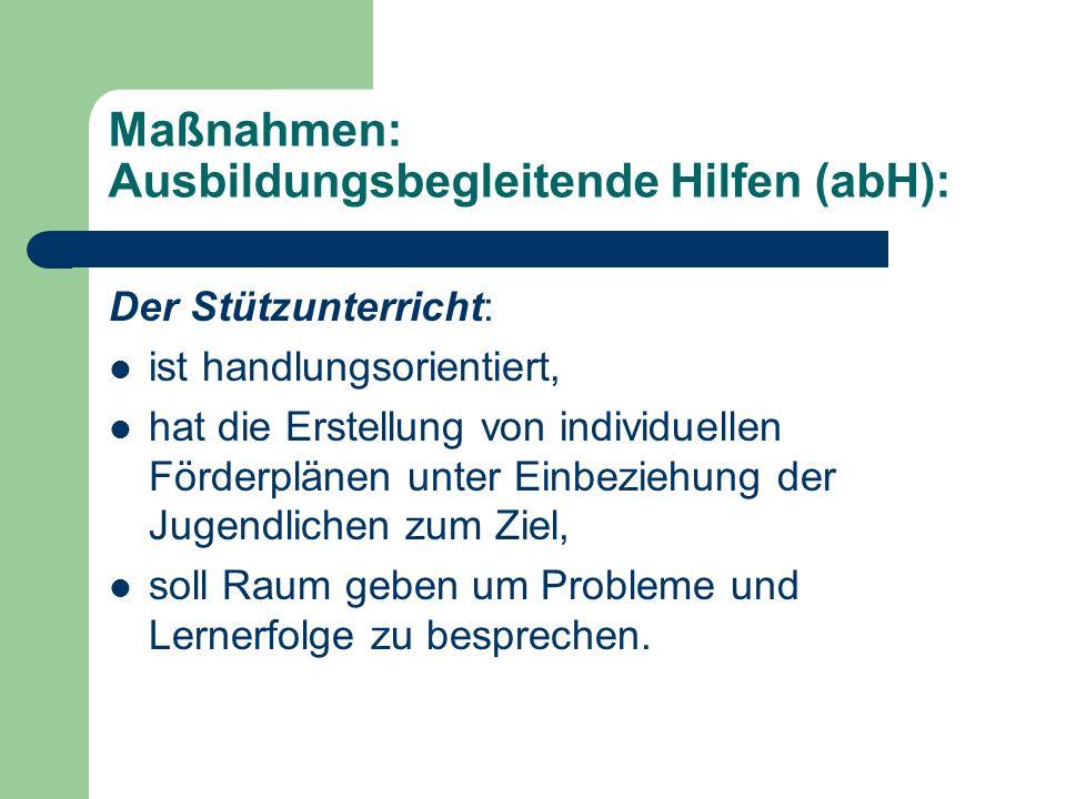 Maßnahmen: Ausbildungsbegleitende Hilfen (abH): Der Stützunterricht: ist handlungsorientiert, hat die Erstellung von individuellen Förderplänen unter