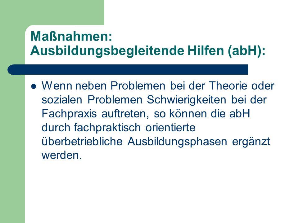 Maßnahmen: Ausbildungsbegleitende Hilfen (abH): Wenn neben Problemen bei der Theorie oder sozialen Problemen Schwierigkeiten bei der Fachpraxis auftre