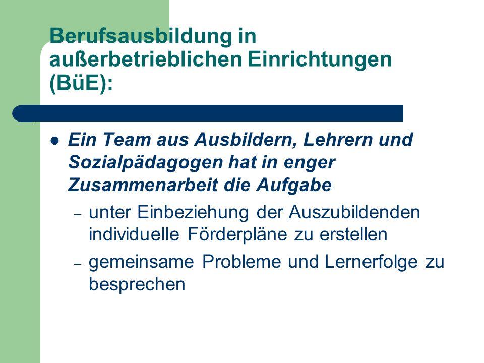 Berufsausbildung in außerbetrieblichen Einrichtungen (BüE): Ein Team aus Ausbildern, Lehrern und Sozialpädagogen hat in enger Zusammenarbeit die Aufga