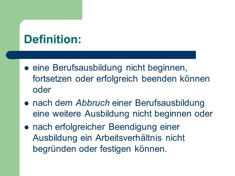 Definition: eine Berufsausbildung nicht beginnen, fortsetzen oder erfolgreich beenden können oder nach dem Abbruch einer Berufsausbildung eine weitere
