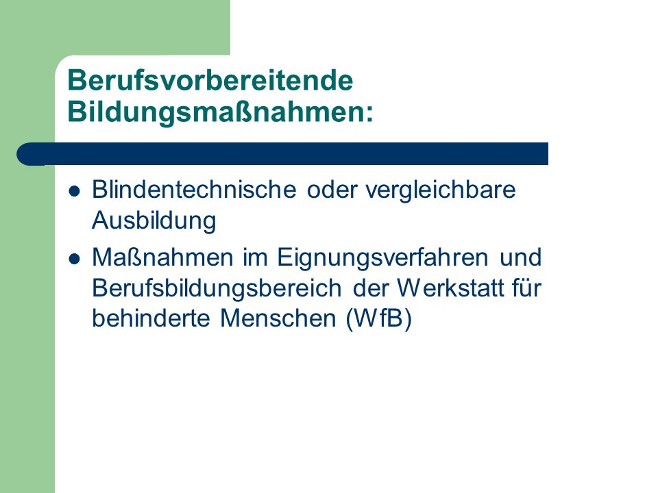 Berufsvorbereitende Bildungsmaßnahmen: Blindentechnische oder vergleichbare Ausbildung Maßnahmen im Eignungsverfahren und Berufsbildungsbereich der Werkstatt für behinderte Menschen (WfB)