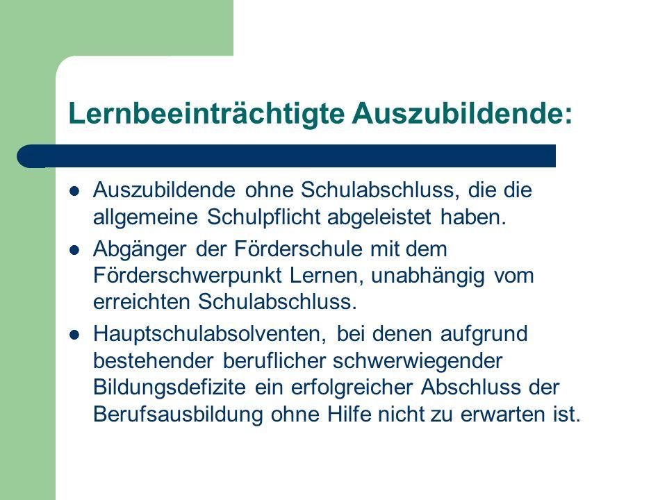 Maßnahmen: Ausbildungsbegleitende Hilfen (abH): Der Stützunterricht: Erfolgt in kleinen Gruppen( max.