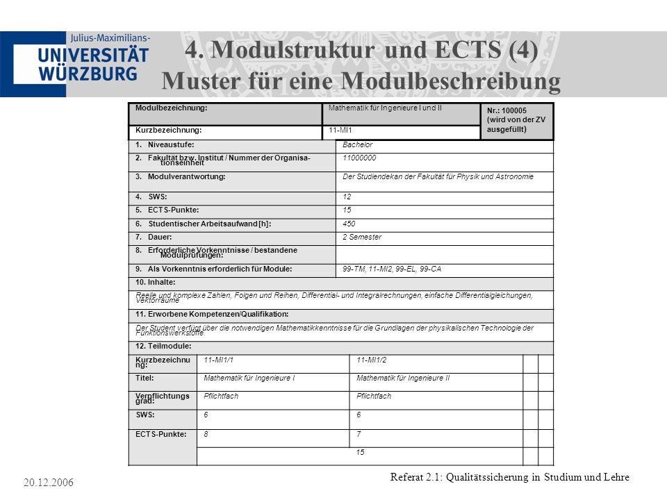 Referat 2.1: Qualitätssicherung in Studium und Lehre 20.12.2006 4. Modulstruktur und ECTS (4) Muster für eine Modulbeschreibung Anlage 9: Modulbezeich