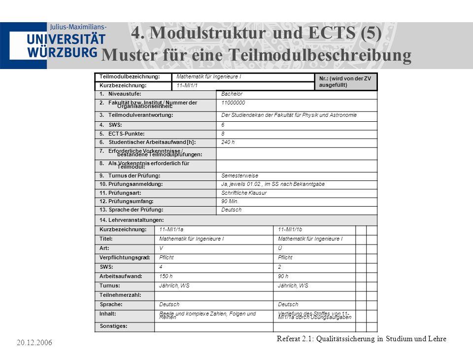 Referat 2.1: Qualitätssicherung in Studium und Lehre 20.12.2006 4. Modulstruktur und ECTS (5) Muster für eine Teilmodulbeschreibung Muster für eine Te