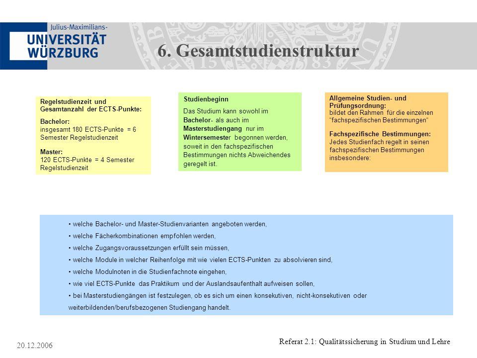Referat 2.1: Qualitätssicherung in Studium und Lehre 20.12.2006 Allgemeine Studien- und Prüfungsordnung: bildet den Rahmen für die einzelnen fachspezi