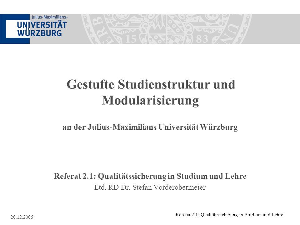 Referat 2.1: Qualitätssicherung in Studium und Lehre 20.12.2006 Gestufte Studienstruktur und Modularisierung an der Julius-Maximilians Universität Wür