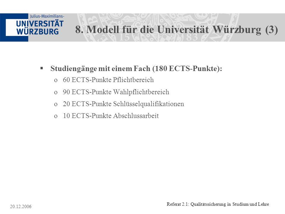 Referat 2.1: Qualitätssicherung in Studium und Lehre 20.12.2006 8. Modell für die Universität Würzburg (3) Studiengänge mit einem Fach (180 ECTS-Punkt