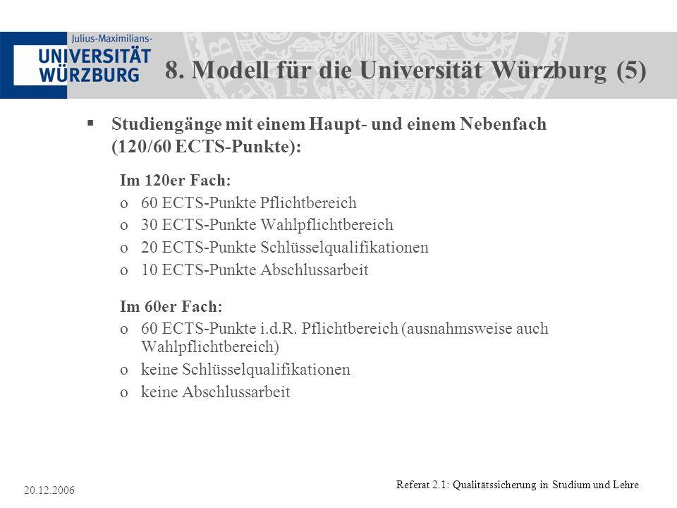 Referat 2.1: Qualitätssicherung in Studium und Lehre 20.12.2006 8. Modell für die Universität Würzburg (5) Studiengänge mit einem Haupt- und einem Neb