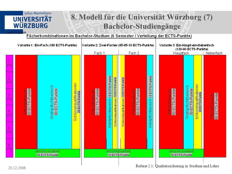 Referat 2.1: Qualitätssicherung in Studium und Lehre 20.12.2006 8. Modell für die Universität Würzburg (7) Bachelor-Studiengänge