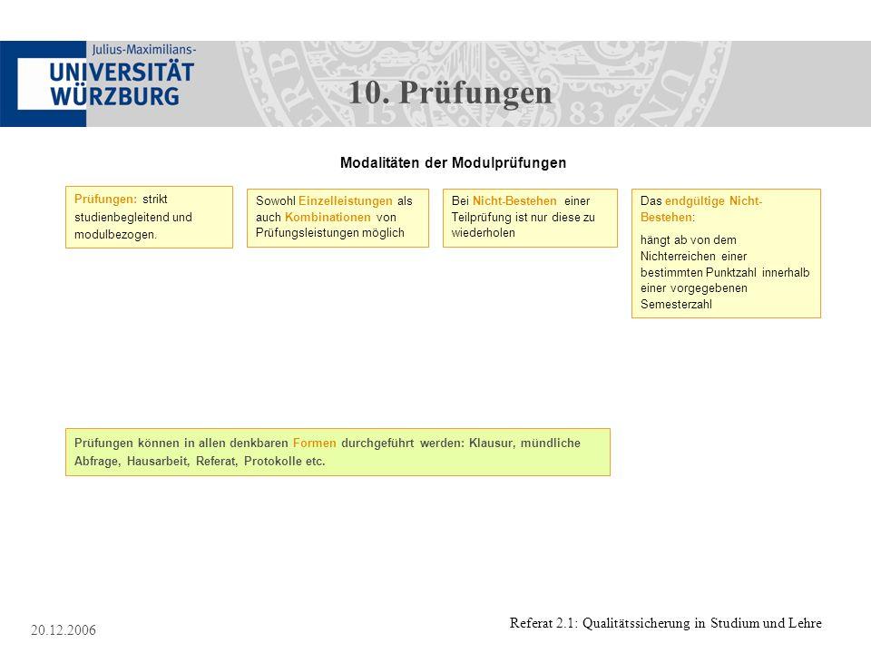 Referat 2.1: Qualitätssicherung in Studium und Lehre 20.12.2006 Modalitäten der Modulprüfungen Prüfungen: strikt studienbegleitend und modulbezogen. S