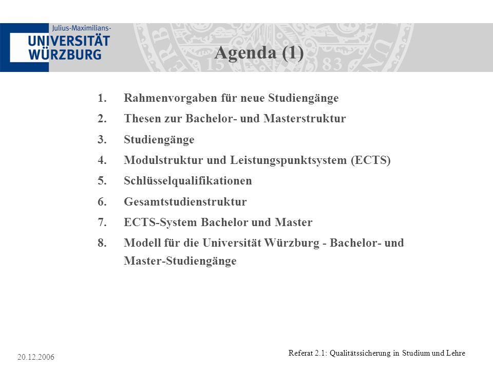 Referat 2.1: Qualitätssicherung in Studium und Lehre 20.12.2006 Agenda (1) 1.Rahmenvorgaben für neue Studiengänge 2. Thesen zur Bachelor- und Masterst