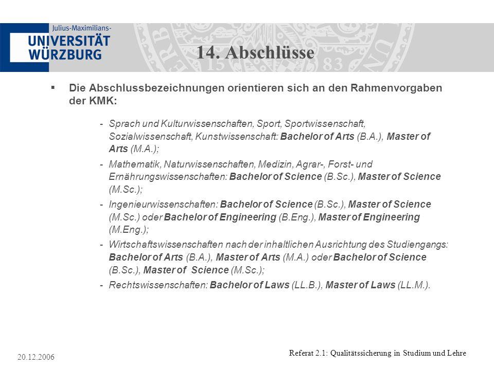 Referat 2.1: Qualitätssicherung in Studium und Lehre 20.12.2006 14. Abschlüsse Die Abschlussbezeichnungen orientieren sich an den Rahmenvorgaben der K