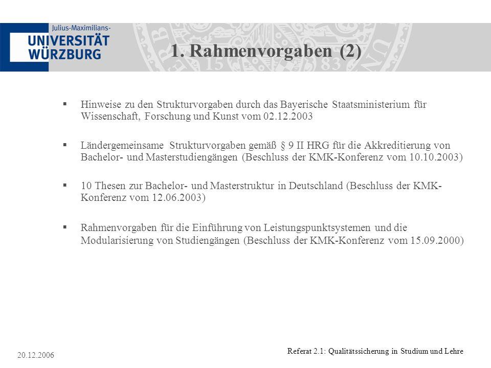 Referat 2.1: Qualitätssicherung in Studium und Lehre 20.12.2006 1. Rahmenvorgaben (2) Hinweise zu den Strukturvorgaben durch das Bayerische Staatsmini