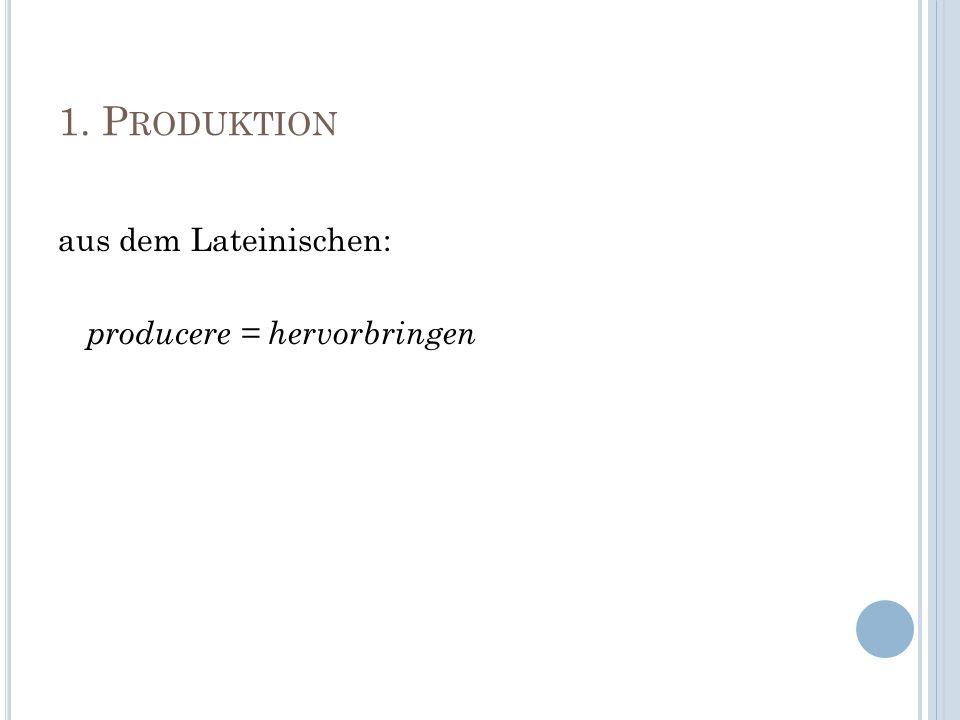 1. P RODUKTION aus dem Lateinischen: producere = hervorbringen