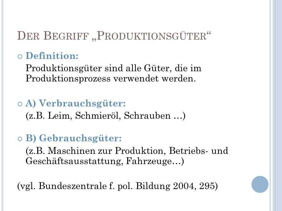 D ER B EGRIFF P RODUKTIONSGÜTER Definition: Produktionsgüter sind alle Güter, die im Produktionsprozess verwendet werden. A) Verbrauchsgüter: (z.B. Le