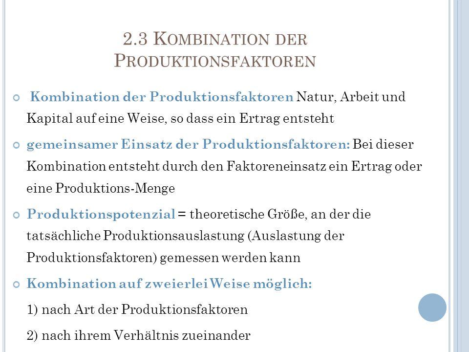 2.3 K OMBINATION DER P RODUKTIONSFAKTOREN Kombination der Produktionsfaktoren Natur, Arbeit und Kapital auf eine Weise, so dass ein Ertrag entsteht ge