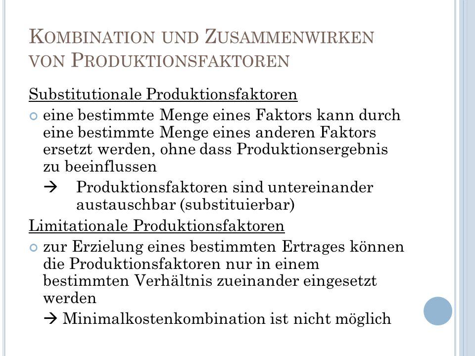 K OMBINATION UND Z USAMMENWIRKEN VON P RODUKTIONSFAKTOREN Substitutionale Produktionsfaktoren eine bestimmte Menge eines Faktors kann durch eine besti