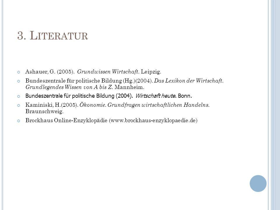 3. L ITERATUR Ashauer, G. (2005). Grundwissen Wirtschaft. Leipzig. Bundeszentrale für politische Bildung (Hg.)(2004). Das Lexikon der Wirtschaft. Grun