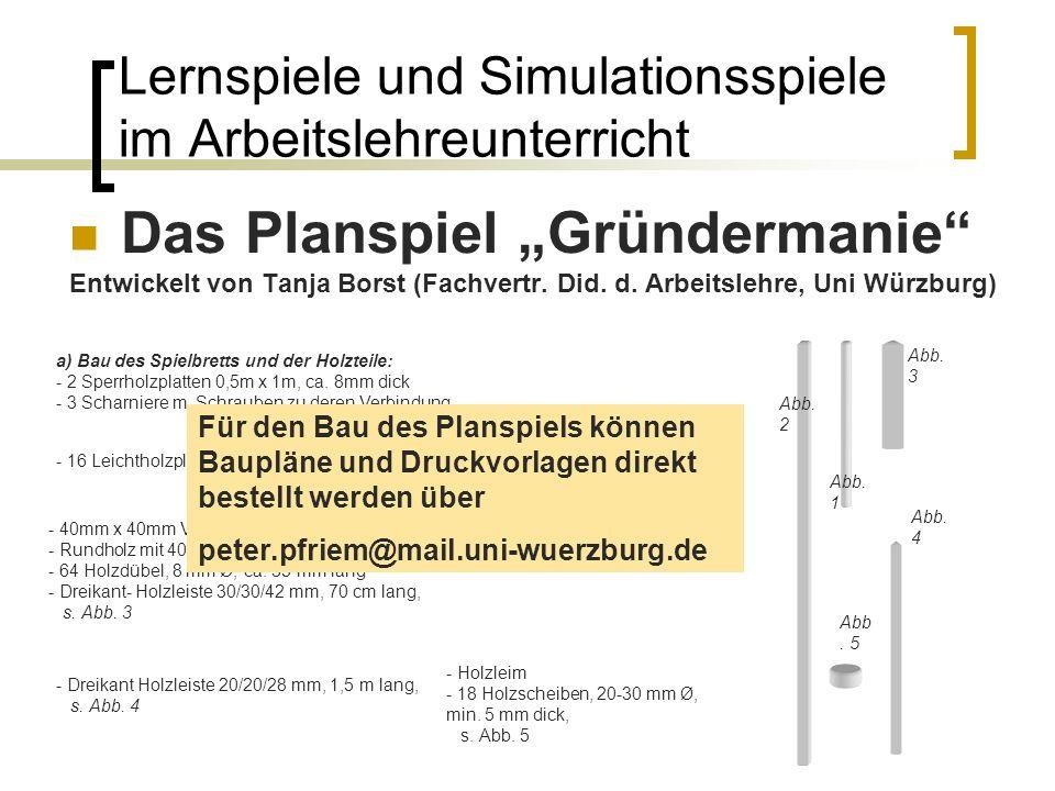 Lernspiele und Simulationsspiele im Arbeitslehreunterricht Das Planspiel Gründermanie Entwickelt von Tanja Borst (Fachvertr. Did. d. Arbeitslehre, Uni