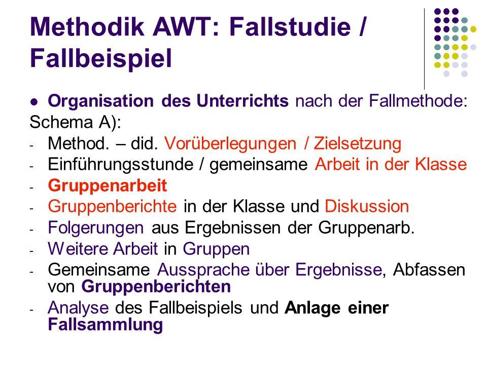 Methodik AWT: Fallstudie / Fallbeispiel Organisation des Unterrichts nach der Fallmethode: Schema A): - Method. – did. Vorüberlegungen / Zielsetzung -