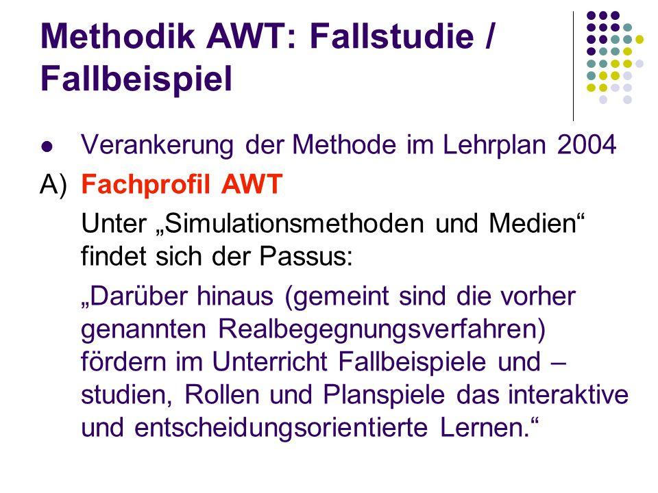Methodik AWT: Fallstudie / Fallbeispiel Verankerung der Methode im Lehrplan 2004 A) Fachprofil AWT Unter Simulationsmethoden und Medien findet sich de