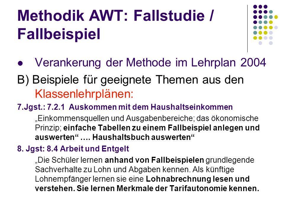 Methodik AWT: Fallstudie / Fallbeispiel Verankerung der Methode im Lehrplan 2004 B) Beispiele für geeignete Themen aus den Klassenlehrplänen: 7.Jgst.: