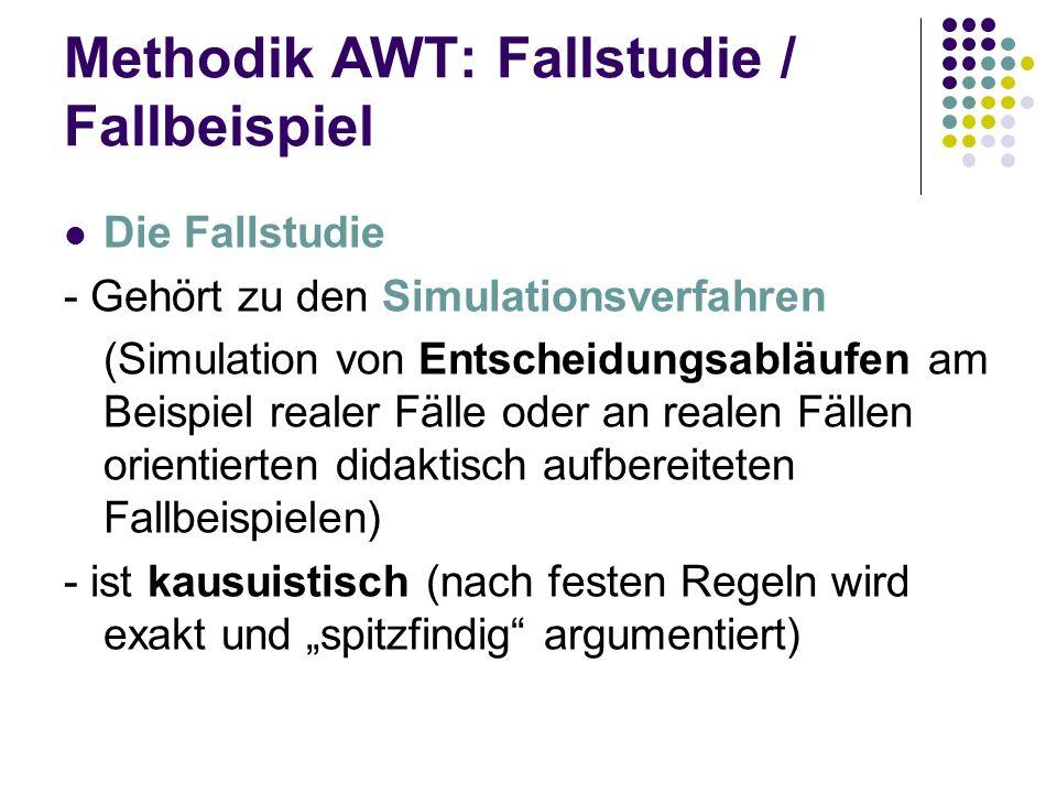 Methodik AWT: Fallstudie / Fallbeispiel Die Fallstudie - Gehört zu den Simulationsverfahren (Simulation von Entscheidungsabläufen am Beispiel realer F