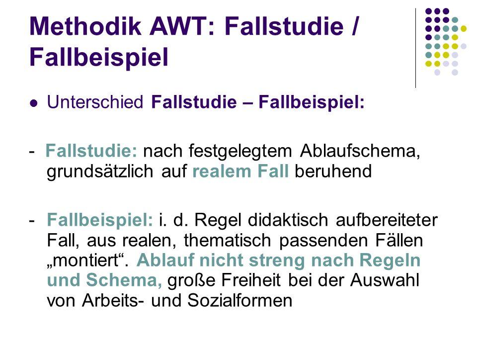 Methodik AWT: Fallstudie / Fallbeispiel Unterschied Fallstudie – Fallbeispiel: - Fallstudie: nach festgelegtem Ablaufschema, grundsätzlich auf realem