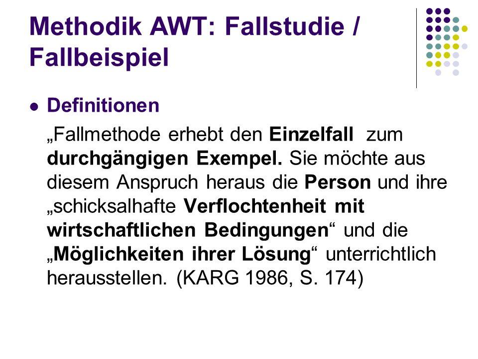 Methodik AWT: Fallstudie / Fallbeispiel Definitionen Fallmethode erhebt den Einzelfall zum durchgängigen Exempel. Sie möchte aus diesem Anspruch herau