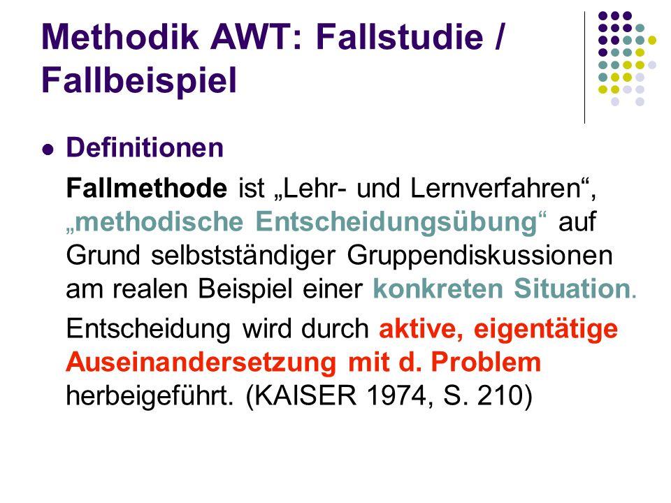 Methodik AWT: Fallstudie / Fallbeispiel Definitionen Fallmethode ist Lehr- und Lernverfahren,methodische Entscheidungsübung auf Grund selbstständiger