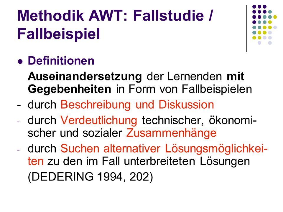 Methodik AWT: Fallstudie / Fallbeispiel Definitionen Auseinandersetzung der Lernenden mit Gegebenheiten in Form von Fallbeispielen - durch Beschreibun