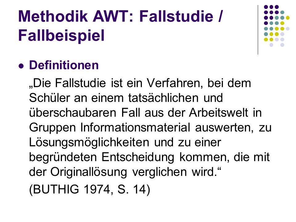 Methodik AWT: Fallstudie / Fallbeispiel Definitionen Die Fallstudie ist ein Verfahren, bei dem Schüler an einem tatsächlichen und überschaubaren Fall