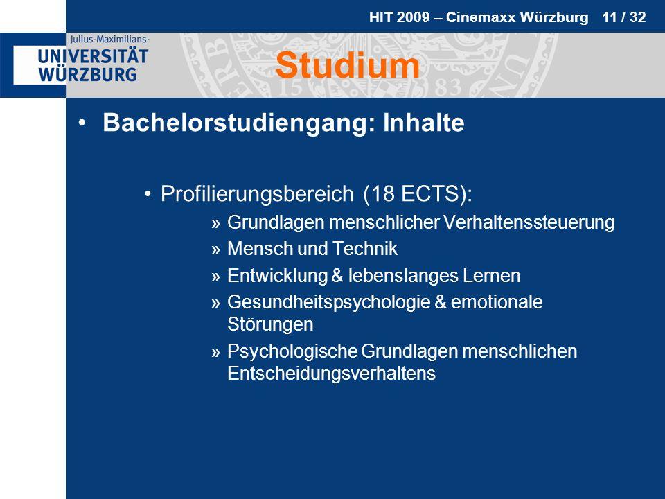 HIT 2009 – Cinemaxx Würzburg 11 / 32 Studium Bachelorstudiengang: Inhalte Profilierungsbereich (18 ECTS): »Grundlagen menschlicher Verhaltenssteuerung