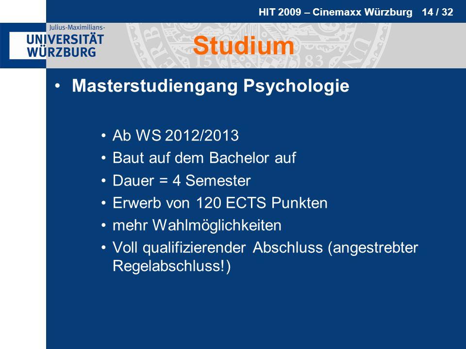 HIT 2009 – Cinemaxx Würzburg 14 / 32 Studium Masterstudiengang Psychologie Ab WS 2012/2013 Baut auf dem Bachelor auf Dauer = 4 Semester Erwerb von 120