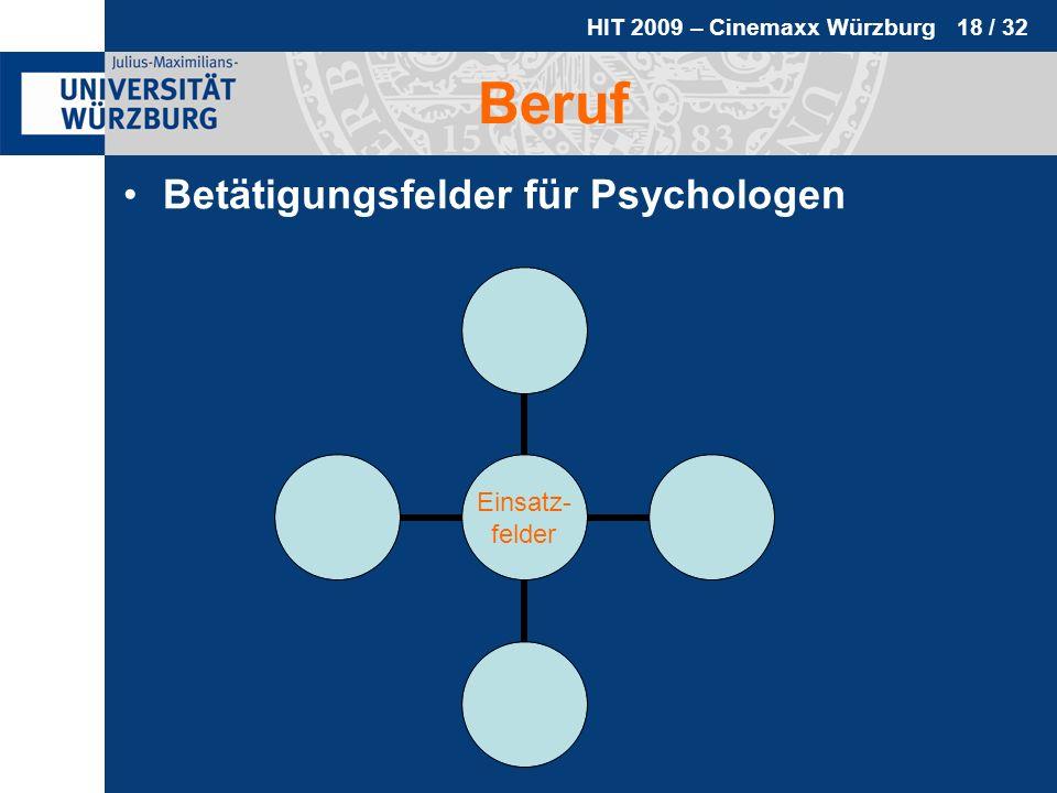 HIT 2009 – Cinemaxx Würzburg 18 / 32 Beruf Betätigungsfelder für Psychologen Einsatz- felder