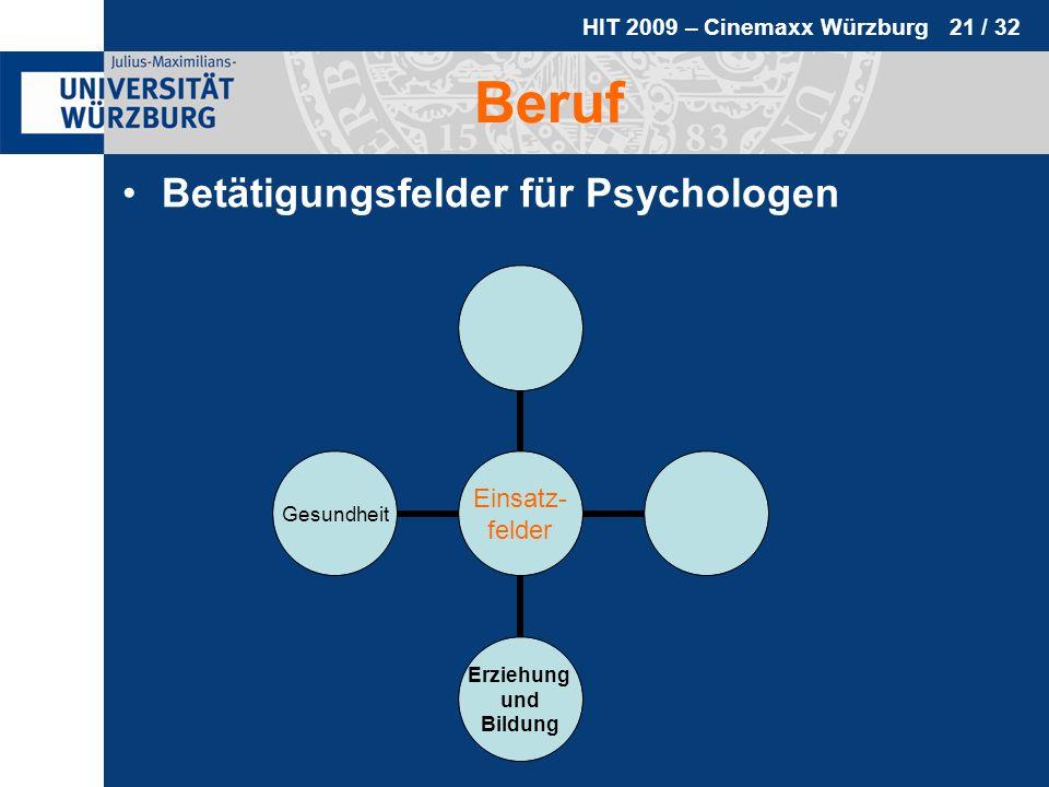 HIT 2009 – Cinemaxx Würzburg 21 / 32 Beruf Betätigungsfelder für Psychologen Einsatz- felder Erziehung und Bildung Gesundheit