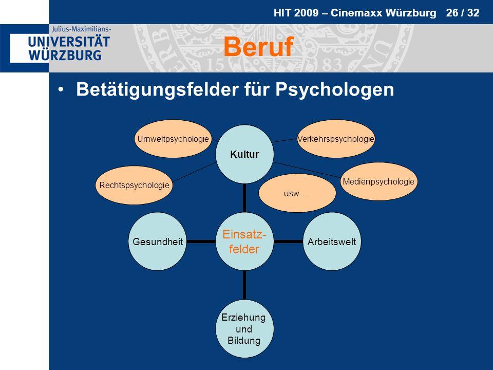 HIT 2009 – Cinemaxx Würzburg 26 / 32 Beruf Betätigungsfelder für Psychologen Medienpsychologie Verkehrspsychologie Rechtspsychologie Umweltpsychologie