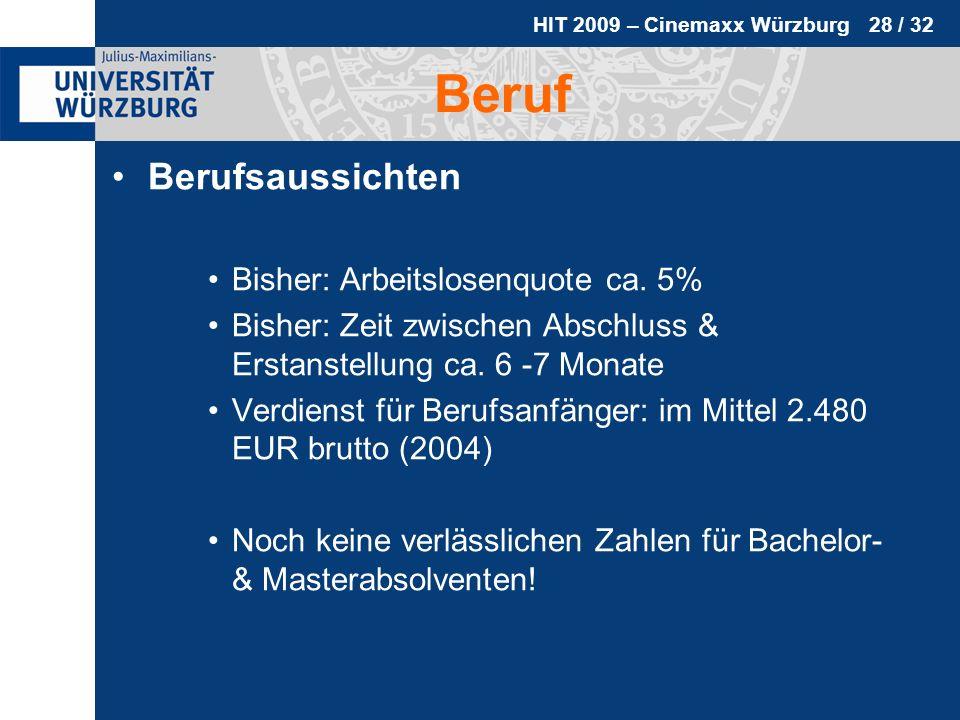 HIT 2009 – Cinemaxx Würzburg 28 / 32 Beruf Berufsaussichten Bisher: Arbeitslosenquote ca. 5% Bisher: Zeit zwischen Abschluss & Erstanstellung ca. 6 -7
