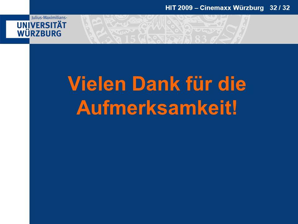 HIT 2009 – Cinemaxx Würzburg 32 / 32 Vielen Dank für die Aufmerksamkeit!