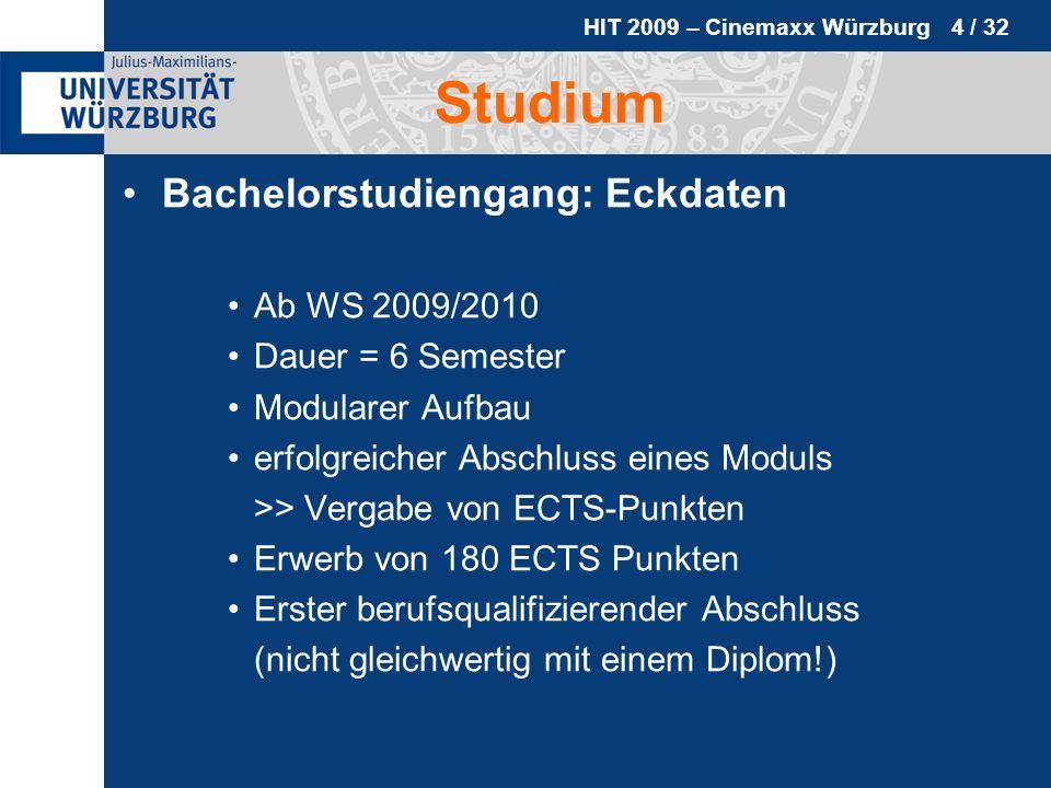 HIT 2009 – Cinemaxx Würzburg 4 / 32 Studium Bachelorstudiengang: Eckdaten Ab WS 2009/2010 Dauer = 6 Semester Modularer Aufbau erfolgreicher Abschluss
